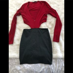 Foreign exchange dress medium red gray
